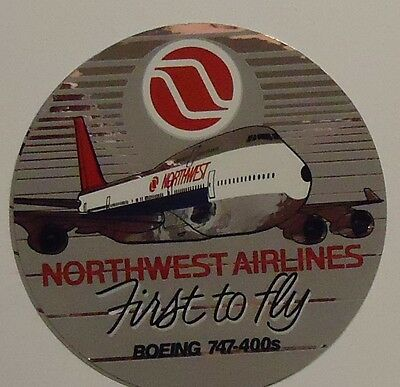 "Northwest Airlines 1989 Sticker 4""  diameter - First 747-400"