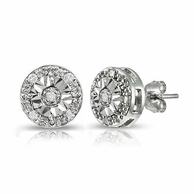 DB Designs Sterling Silver 1/10ct Diamond Miracle-Set Stud Earrings