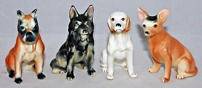 "VINTAGE Set of 4 Bone China 3 1/4"" Dogs JAPAN, Boxer Hound Shepherd Chihuahua EC"