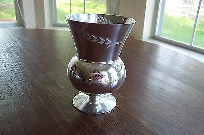 Vintage Candlelite Crystal Mueller - Etched Glass Silver Vase - Hand Blown