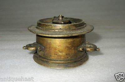 1850' Old Antique Collectible Rare Solid Brass Hand Carved Unique Indian Ink Pot