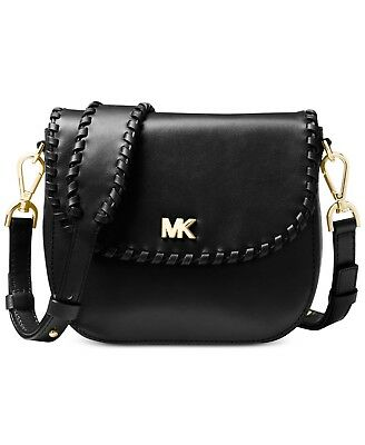 db394c08f5f8 Michael Kors Half Dome WHIPSTITCHED Black Leather Small Crossbody Bag
