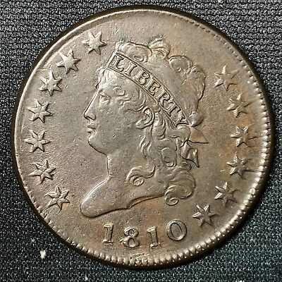 1810 Classic Head Large Cent S-282 Tooled