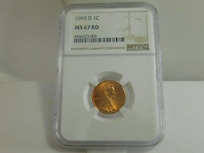 1993 D NGC MS67RD 1C Lincoln Memorial Cent Uncirculated Certified FS127