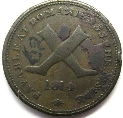 1814 Payable At Romanis 33 Cheapside Halfpenny Token - Truth Strength & Speed