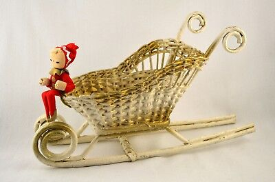 Vtg 1950s 60s Wicker Sleigh / Sled w/ Pixie Elf Christmas Decoration Centerpiece