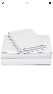 Pinzon 400-Thread-Count Egyptian Cotton Sateen Hemstitch Sheet Set - King, White