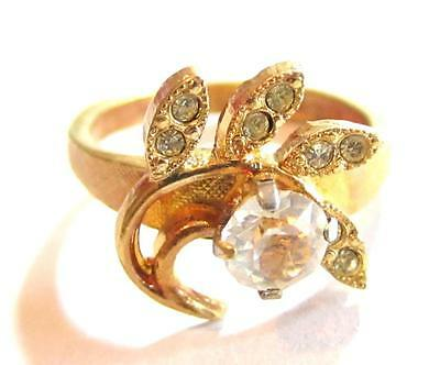 18Kt Hge Espo Vintage Brushed Yellow Gold Plated Sparkly Rhinestone Cz Ring*S789