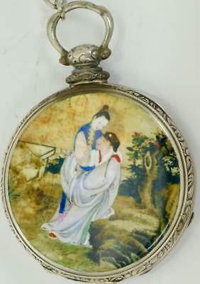 MUSEUM Qing Dynasty Chinese  silver&enamel Erotic pocket watch c1850s by Tobias