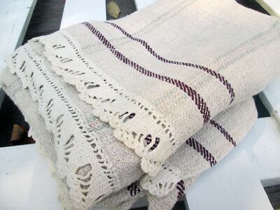 Antique French Hemp Coverlet Large Handwoven Crochet Work Flax Beautiful