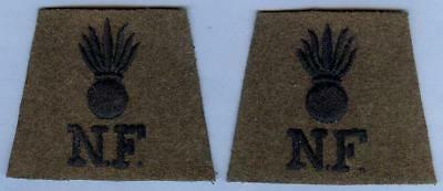 British Army Repro Cloth Shoulder Title Pair, Grenade with N.F. Black on Khaki