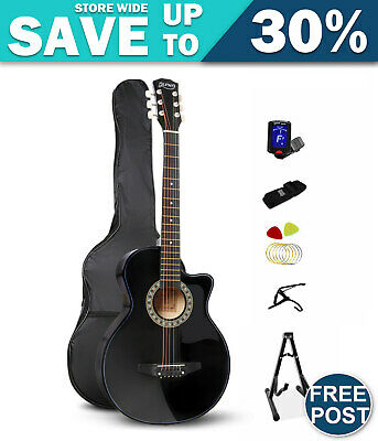 Alpha 38 Inch Wooden Acoustic Guitar Set- Black