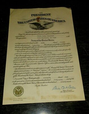 Presidential Army  Appointment.  SIGNED BY ADJUTANT GENERAL 1945