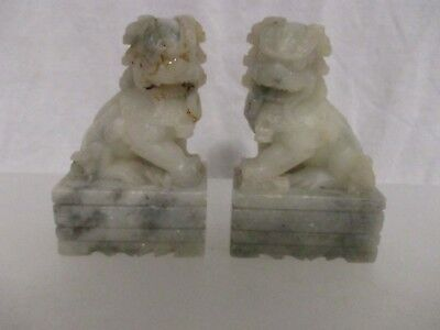 """Chinese Foo Dog Pair Albaster Stone Hand Carved Excellent 3 3/4""""x 1 1/2"""" X 2 1/4"""