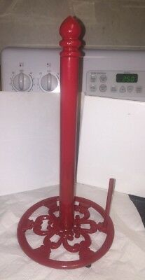 "Collectible Cast Iron Red Paper Towel Holder Antique Style 14"" Tall ~ 1990's"