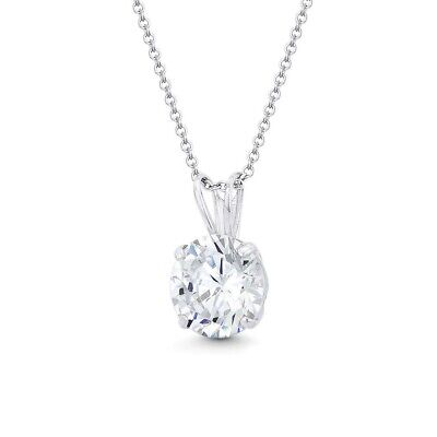 Created Diamond Solitaire Pendant 14K Solid Yellow Gold Round Charm .25ct-2.75ct
