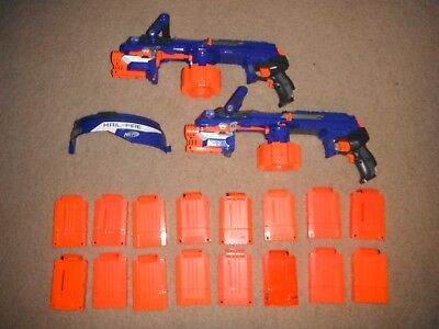 2x Nerf Elite N Strike Hailfire Hail Fire Blaster Gun Battery *16 CLIPS WOW* lot