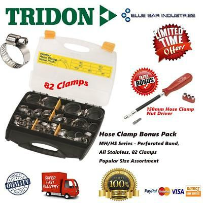 Hose Clamp Bonus Pack 82pcs Part Stainless Perforated Band + Clamp Nut Driver