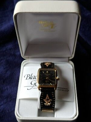 Black hills gold Mens watch solid 10k/12k Masonic Symbol accents Tips, New NOS