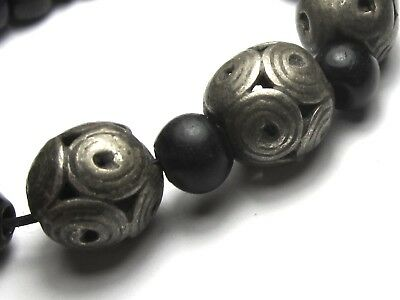 5 Rare Amazing Old/ancient Afghanistan Silver Dowry Beads W/padre Spacers