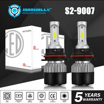 HB5 9007 COB LED Headlight Dual High Low Beam Bulbs Kit 1320W 198000LM 6000K 2X