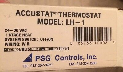 PSG Accustat Single Stage Heating  24-30 Vac Thermostat LH-1 With Sensor NOS
