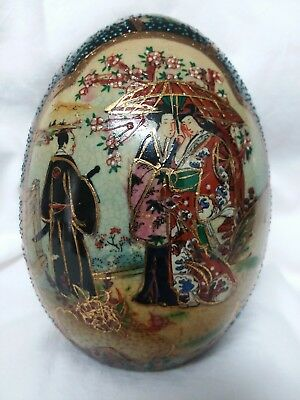"Vintage Japanese  Royal Satsuma 4"" Porcelain Egg"