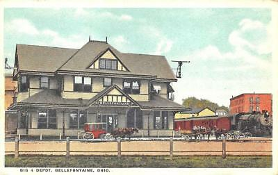 Bellefontaine OH Big 4 Railroad Station Train Depot Postcard
