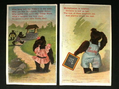 2 Old Postcards - Teddy Bear Poetry - Frank Cavally Graphics ca. 1907