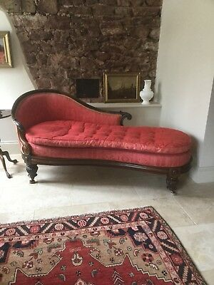 Antique Victorian Rosewood Chaise Lounge / Sofa
