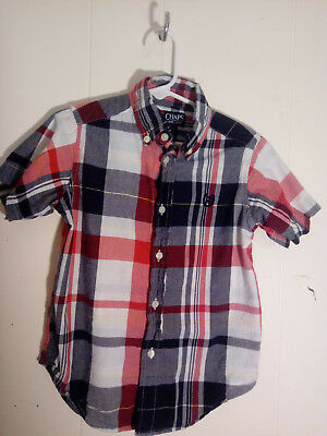 Chaps 4 Toddler Boy Short Sleeve Button Down Shirt Blue Red White Guc