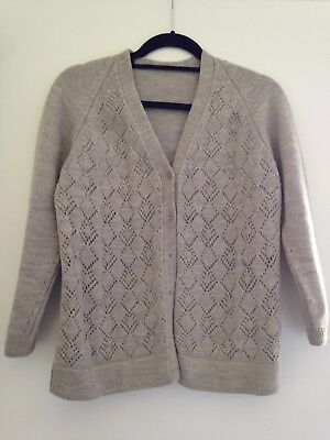 1970's Vintage Lacy Hand Knit Crew Neck Wool Cardigan.