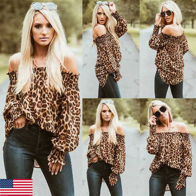 US Women Fashion Sexy Off Shoulder Leopard Print Tops Puff Long Sleeve Loose Top