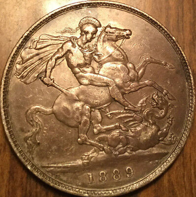 1889 UK GB GREAT BRITAIN SILVER VICTORIA CROWN - A nicer example