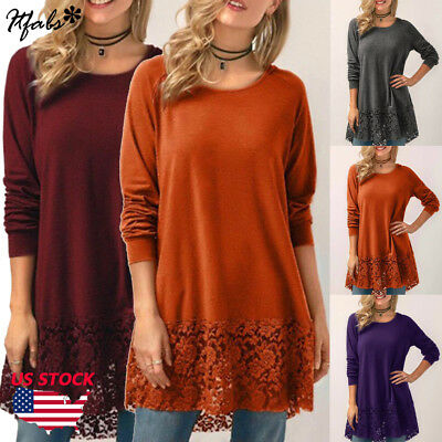 New Womens Long Sleeve Blouse Lace Hem Tunic Loose Tops Jumper A Dress Plus Size