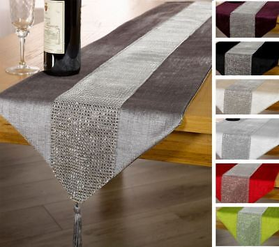 "Diamante Chenille Tasselled Table Runner 13x72"" Or 13x90"" Bling Sparkle New"