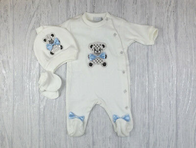 Baby Boys Girls Romany Diamante & Bows Teddy Ivory & Sky Blue Babygrow Outfit
