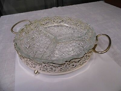 Vintage glass 3 compartment serving bowl in silver plate holder very decorative