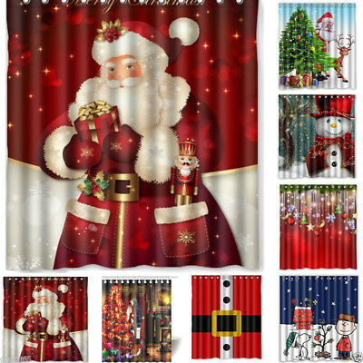 US Waterproof Bathroom Shower Curtain hook set Xmas Home party Decor Christmas