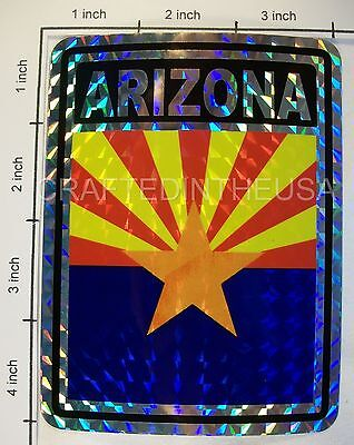"""Reflective Sticker Arizona State Flag 3x4"""" Inches Adhesive Car Bumper Decal New"""
