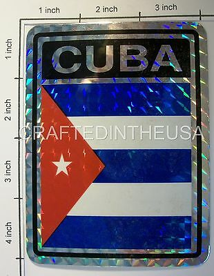 "Reflective Sticker Cuba Libre Country Flag 3x4"" Inches Adhesive Car Bumper Decal"