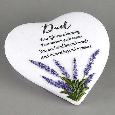 Dad Memorial Grave Heart Ornament With Lavender Detail Remembrance Gift
