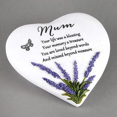 Mum Memorial Grave Heart Ornament With Lavender Detail Remembrance Gift