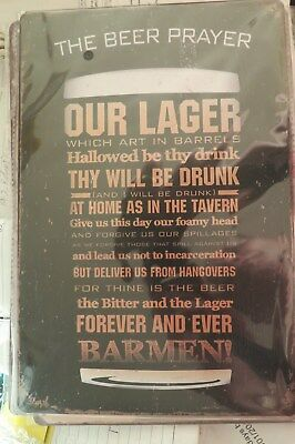 the beer prayer   tin metal sign MAN CAVE 30 by 20 cm