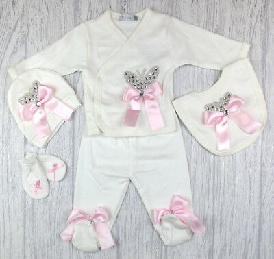 Baby Girls Romany Diamante Butterfly & Bows Ivory & Pink 5 Piece Outfit Set AW18