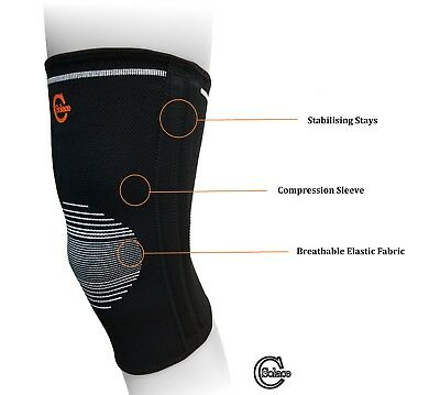 Adjustable Knee Stabiliser lateral Stays Support Pain Best Sport Injury Wrap SC