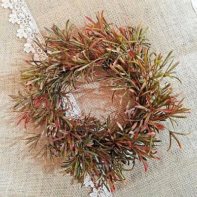 New Country Primitive Asparagus Fern Red & Green Candle Ring Wreath Mini Wreath