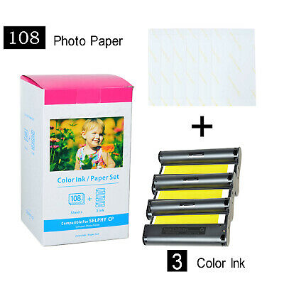 KP-108IN 3 x Ink and 108 Paper Sheets for Canon Selphy CP900 CP910 CP1300 CP780