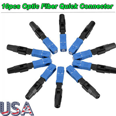 10pcs SC Fiber Optic Quick Fast Connector Adapter UPC FTTH SC Single Mode US