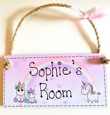 PERSONALISED ANY NAME GIFT new baby girl Room door sign plaque unicorn Christmas
